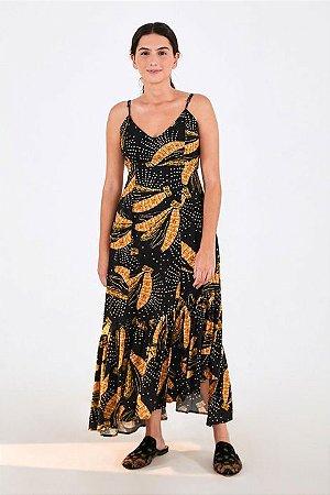 Vestido Cropped Estampado Banana Brilho Farm