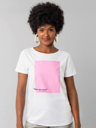 Camiseta Meia Malha Penteada Branco Lunender