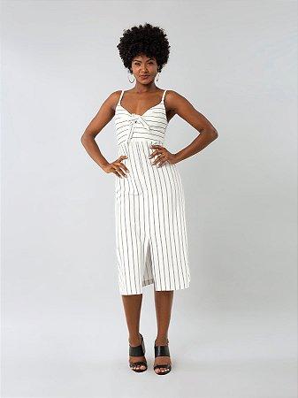 Vestido Midi Malha New Stretto Twist Branco Off White Lunender