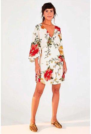 Vestido Curto com Manguinha Floral Betina Farm