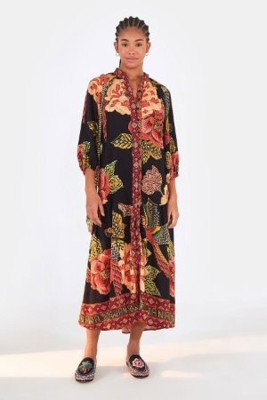 Vestido Bata Manga Floral Yawanawa Farm
