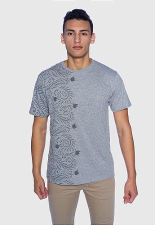 Camiseta Masculina Cinza Flor