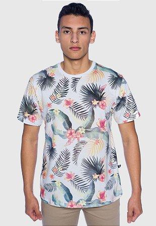 Camiseta Masculina Floral Branca