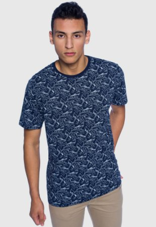 Camiseta Masculina Pássaros Azul Marinho