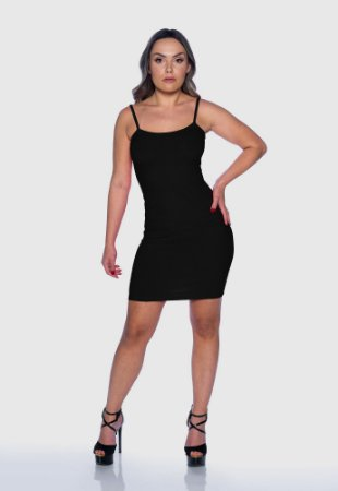 Vestido Feminino Canelado Alcinha Preto