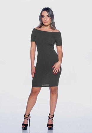 Vestido Feminino Canelado Manguinha Cinza Mescla