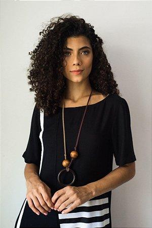 VESTIDO T-SHIRT DRESS RECORTE LISTRADO
