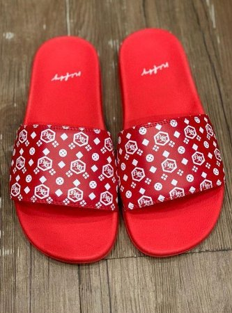 Chinelo Slide Nifty Logo Red/White