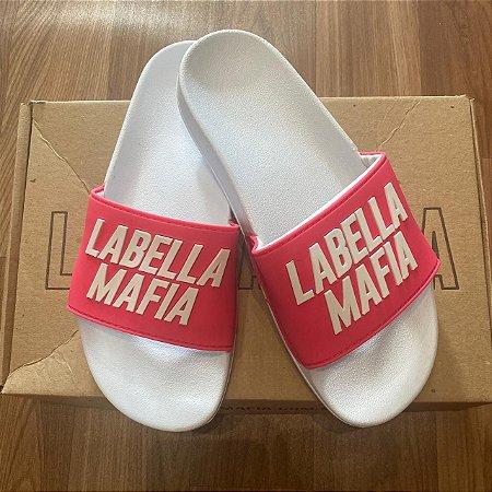 Chinelo Fem. Slide LabellaMafia Branco/rosa
