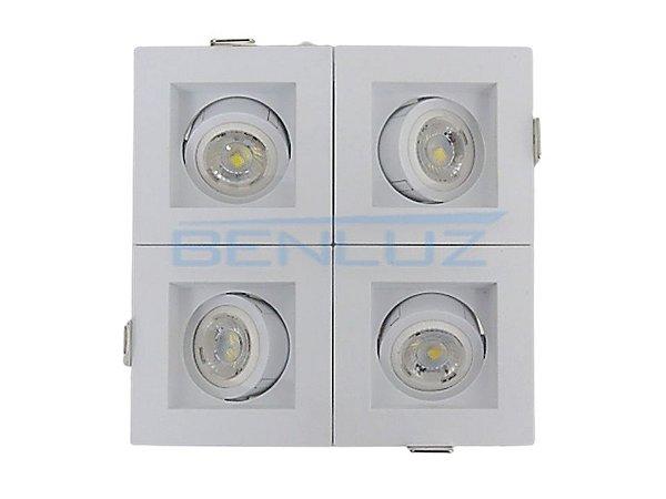 Spot Recuado Quádruplo Branco Para Mini Dicroica MR11 LED Medidas 14x14cm