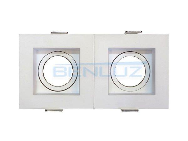 Spot Recuado Duplo Branco Para Mini Dicroica MR11 LED Medidas 07 x 14cm (Sem Lâmpada)