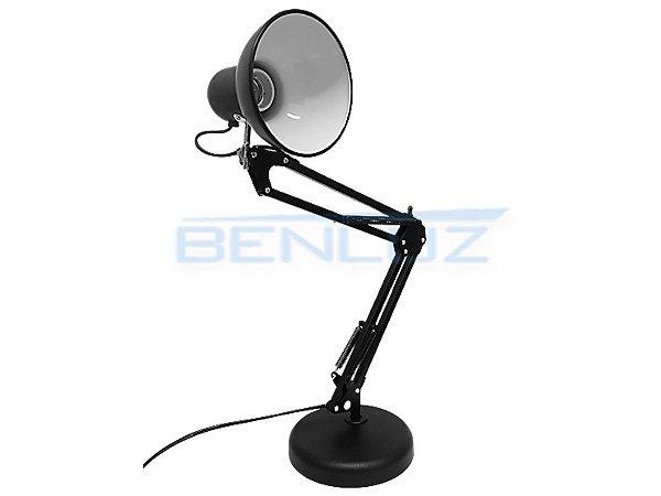 Luminária de mesa preta clássica base giratória e base p/ fixação - Ajustável