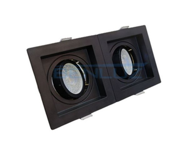 Spot Recuado Duplo Preto Para Dicroica MR16 LED Medidas 20x10cm