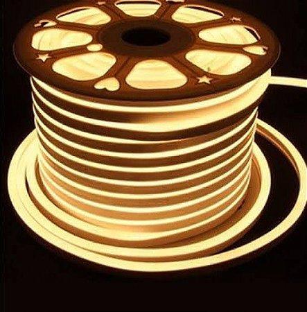 Mangueira Neon De LED Flexível 12V Rolo com 50 Metros Branco Quente