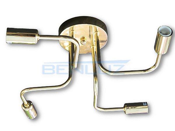 Plafon Dourado 30CM E14X4 de Metal e alumínio