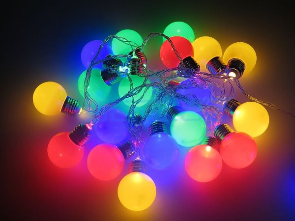 Cordão Fixo Fio de Luz LED Branca com 20 Bolinhas colorida 4M Bivolt