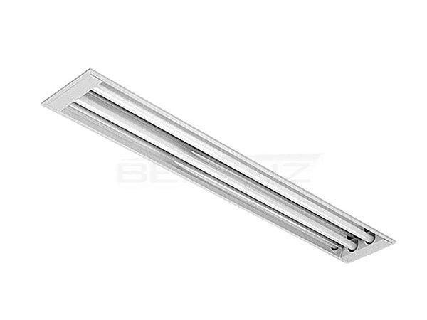 Luminária Comercial 2x16W de embutir sem aletas Tradicional