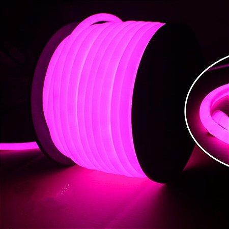 Mangueira Neon De LED Flexível Rolo com 100 Metros Rosa