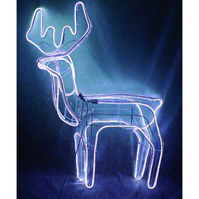 Rena de Natal P/ Jardim- com Movimento- Mangueira de LED Branco Frio -Macho