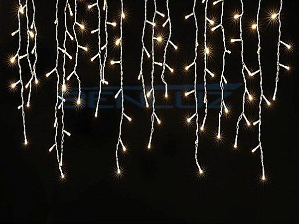 Cascata Fixa com 100 LEDs Fio Branco 2,5 Metros Branco Morno 110V