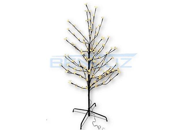 Árvore Cerejeira LED preta com flores 110cm Branco Quente