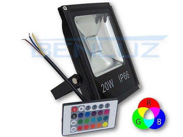Refletor Holofote de LED 20W RGB c/Controle a prova d'agua