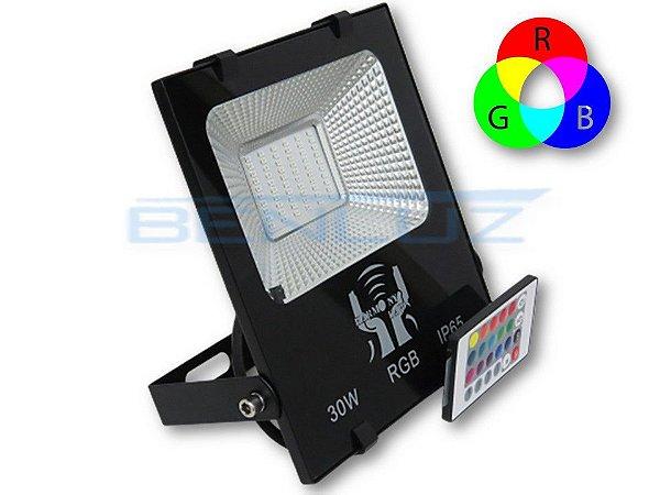 Refletor Holofote De LED 30W - RGB Com Controle A prova d'água
