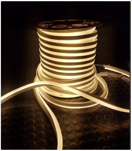 Mangueira Neon De LED Flexível Rolo com 50 Metros Branco quente