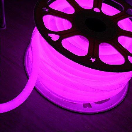 Mangueira Neon De LED Flexível Rolo com 50 Metros Rosa