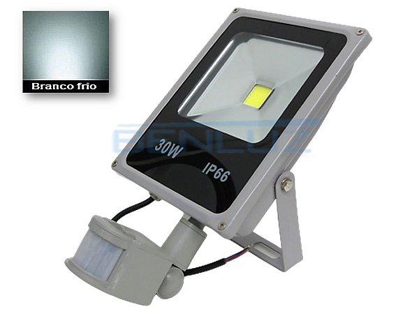 Refletor Holofote de LED 30W c/Sensor de Presença Branco Frio A prova d'água