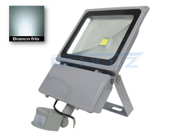 Refletor Holofote de LED 100W c/Sensor de Presença Branco Frio