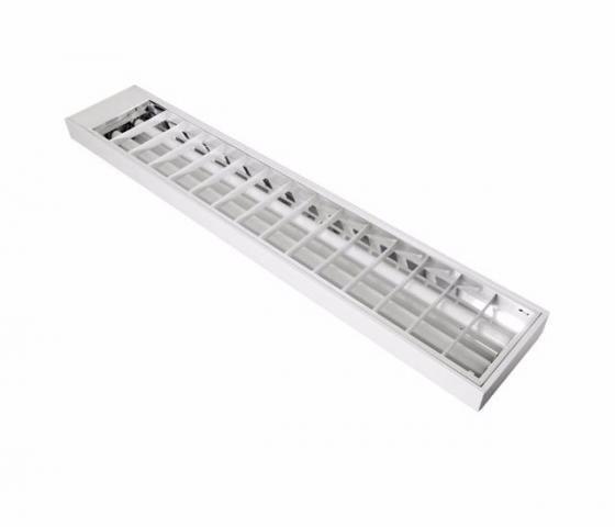 Luminária Comercial de Sobrepor Led com Aletas  para T8 led  2x18w ou 2 x 32 36 40w