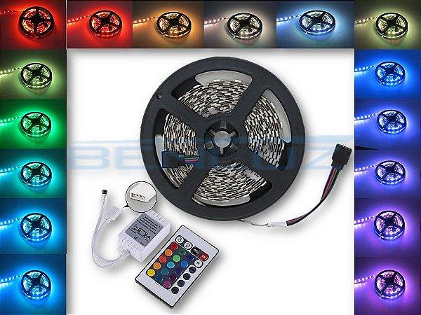Kit Fita LED 5050 RGB 5M 12V c/Silicone + Fonte 2A