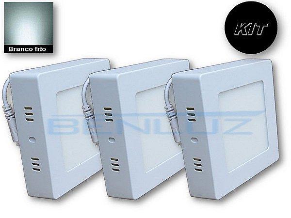 𝐊𝐈𝐓 - Luminária 3 Plafons LED 6W 12x12 Quadrado De Sobrepor Branco Frio