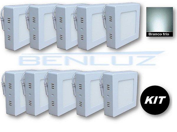 𝐊𝐈𝐓 - Luminária 10 Plafons LED 6W 12x12 Quadrado De Sobrepor Branco Frio