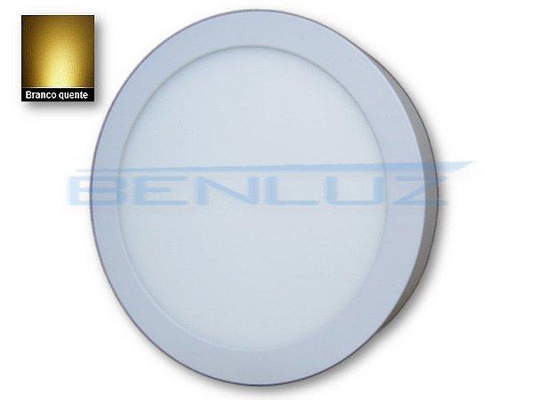 Luminária Painel Plafon LED 20W 22x22 Redondo De Sobrepor Branco Quente