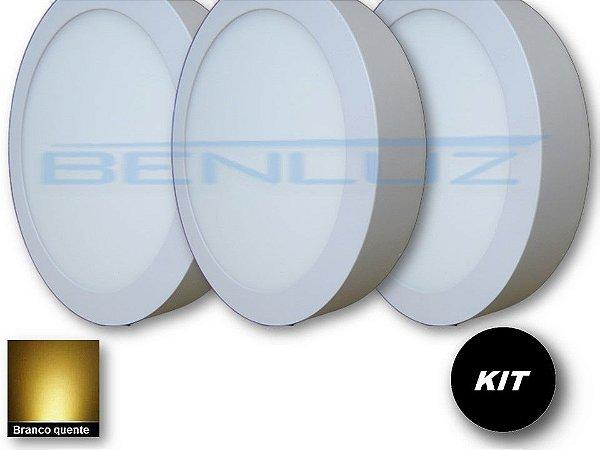 𝐊𝐈𝐓 - Luminária 3 Plafons LED 20W 22x22 Redondo De Sobrepor Branco Quente