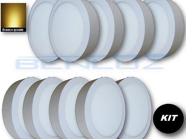 𝐊𝐈𝐓 - Luminária 10 Plafons LED 20W 22x22 Redondo De Sobrepor Branco Quente