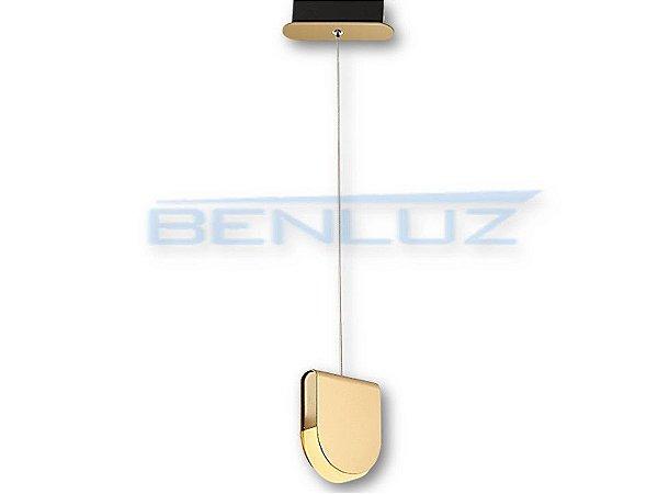 Pendente 15×4.5×120cm Dourado Fosco Aluminio+acrilico LED 6W 3000k Bivolt