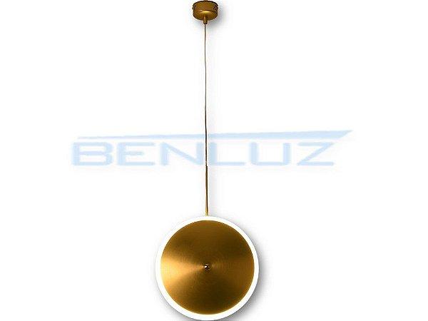 Pendente 30×150cm Dourado Fosco Aluminio+acrilico LED 12W 3000k Bivolt