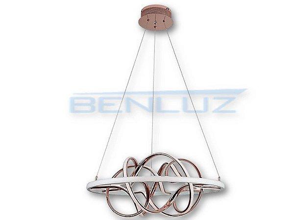 Pendente Φ67cm Rose Acrilico Aluminio LED 74W 3000k Bivolt