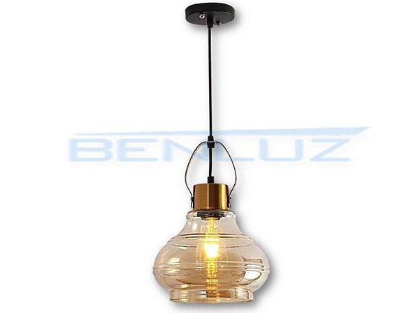 Pendente 23×34cm Amber+cobre Vidro E27