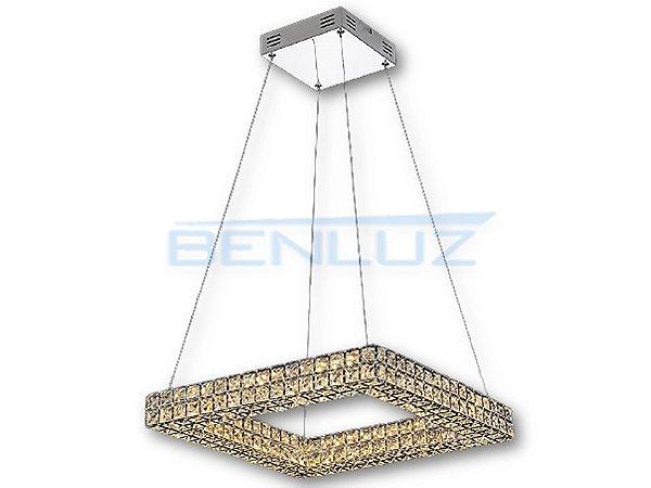 Pendente Quadrado 45cm Aluminio e Cristal LED 32W 3000k 2300lm Bivolt