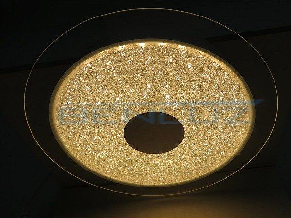 Plafon Φ40cm Aluminio Cristal e Vidro LED 17W 3000k 1250lm Bivolt