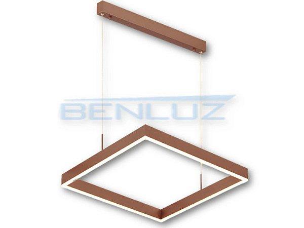 Pendente Quadrado 80cm Acrilico Dourado LED 64W 3000k Bivolt