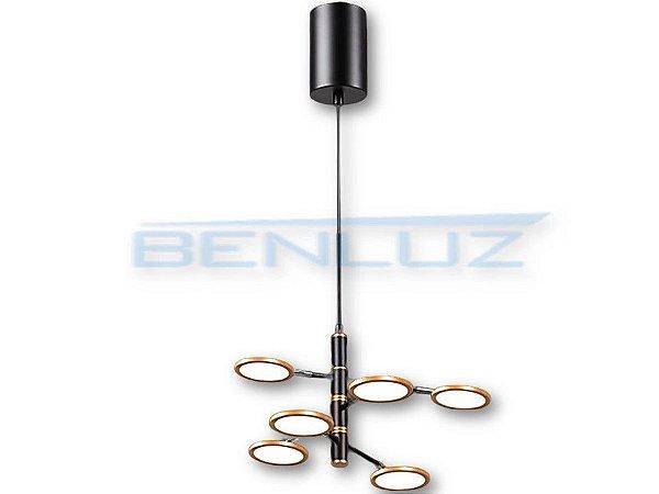 Pendente 60cm Dourado Aclirico LED 30W 3000k Bivolt
