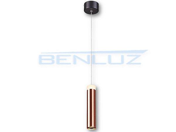 Pendente 5×20×150cm Cobre Aluminio Aclirico LED 7W 3000k Bivolt