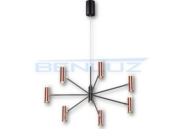 Pendente 80×80×a120cm Preto+cobre Aluminio Aclirico Led 56w 3000k Bivolt