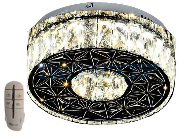 Plafon Redondo 35cm Cristal Led 32w 3000k 4000k 6000k Controle Bivolt