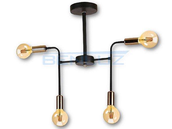 Arandela Metal e Vidro Preto E27×4